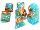 Gemini Set de 7 dés / 7-Die Set Copper Turquoise/White