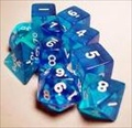 Dice Tube- 10 Transparent - Blue