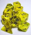 Dice Tube- 10 Transparent - Yellow